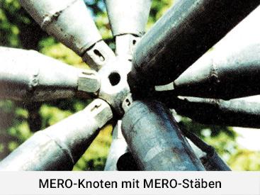 MERO-Knoten mit MERO-Stäben